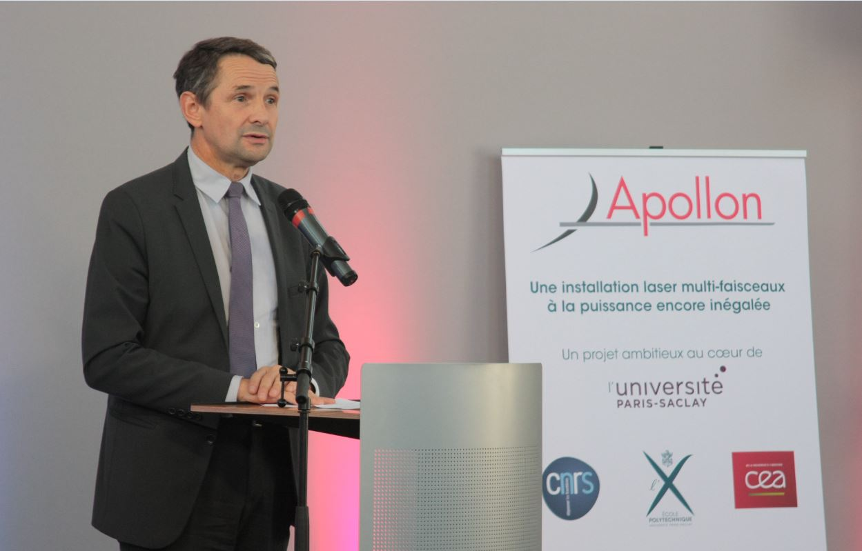 Inauguration de l'installation laser Apollon avec Thierry Mandon, Secrétaire d'État chargé de l'Enseignement supérieur et de la Recherche