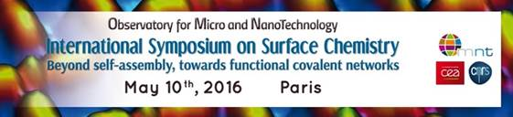 """Annonce de symposium OMNT  : """"On-Surface chemistry: beyond self-assembly, towards functional covalent networks"""""""