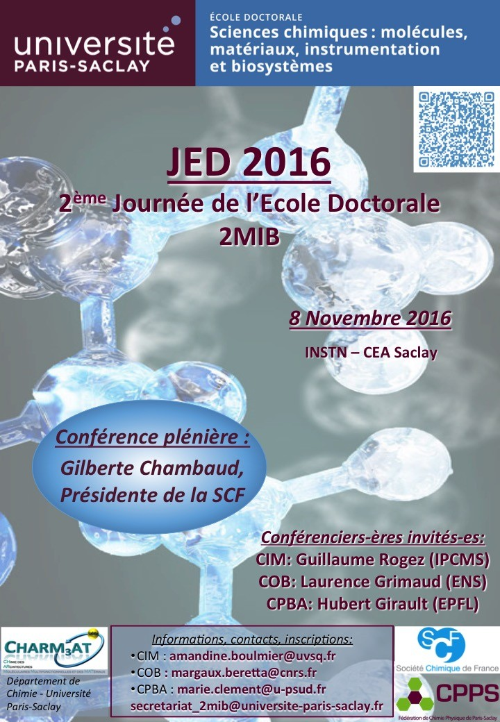 2ème Journée Doctorants - ED Sciences Chimiques (ED 2MIB) : Molécules, Matériaux, Instrumentation et Biosystèmes - JED 2016