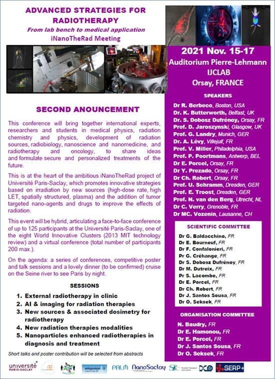 Colloque iNanoTheRad  « Advanced Strategies for Radiotherapy », du 15 au 17 Novembre 2021 - CALL FOR PRESENTATIONS...