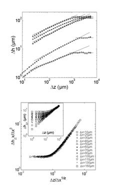 Roughness exponents of fracture surfaces in packing of sintered glass beads.