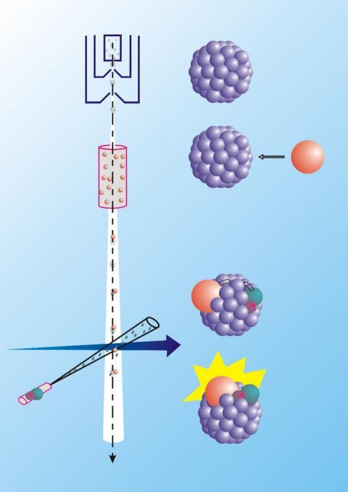 Isolation d\'une réaction chimique dans un agrégat de grande taille. Technique CICR.