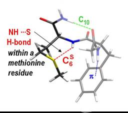 The strength of the NHamide---Smethionine revealed by spectroscopy of small peptides