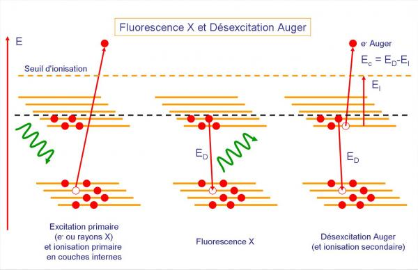 Spectroscopie d\'électrons Auger et fluorescence X