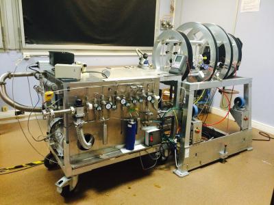 Noble gas spin-exchange optical pumping (SEOP) setup in a van