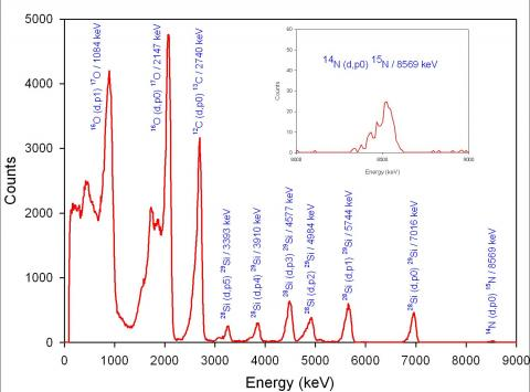 Light elements in samples from the Stardust mission analysed by ion beams at the nuclear microprobe