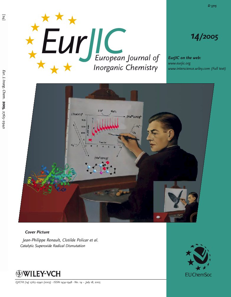 La radiolyse pulsée au SCM et la clairvoyance font la une de EurJIC/ Pulsed radiolysis at SCM and Clairvoyance by Magritte make the cover page of EurJIC of July