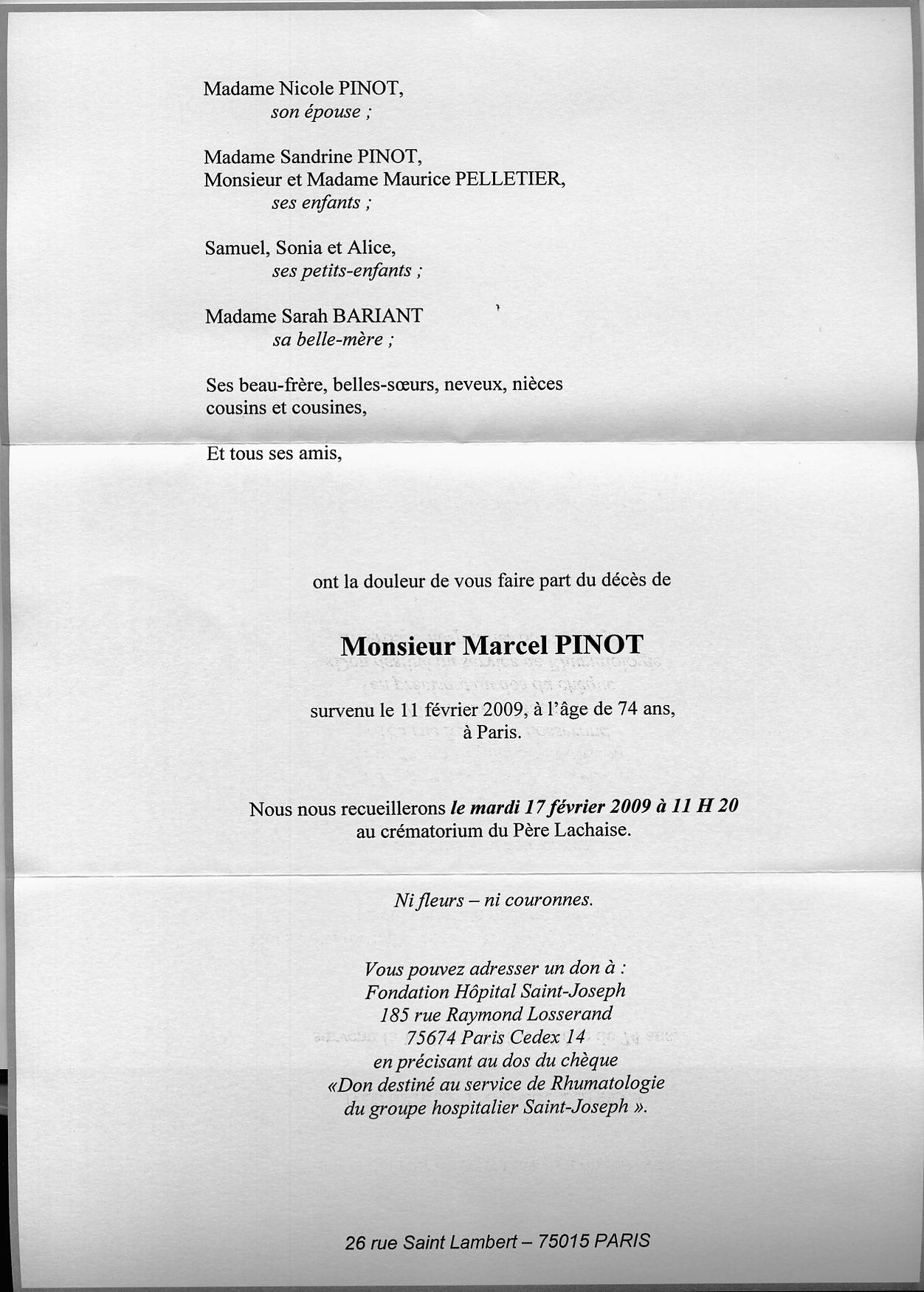 Décès de Marcel Pinot